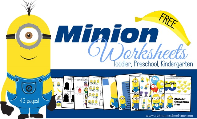 Free Printable Minion Homeschool Activities for kids