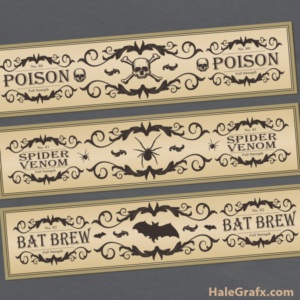 FREE Printable Potion Bottle labels for Halloween by HaleGrafx