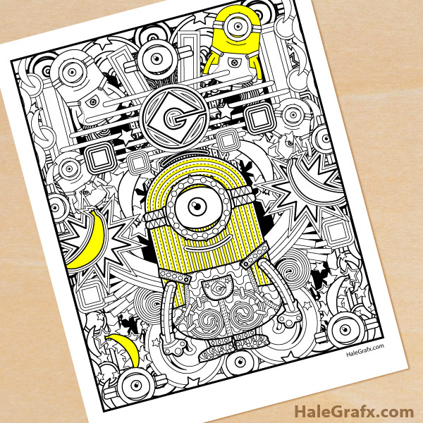 Free Printable Minion Adult Coloring Page by HaleGrafx.com