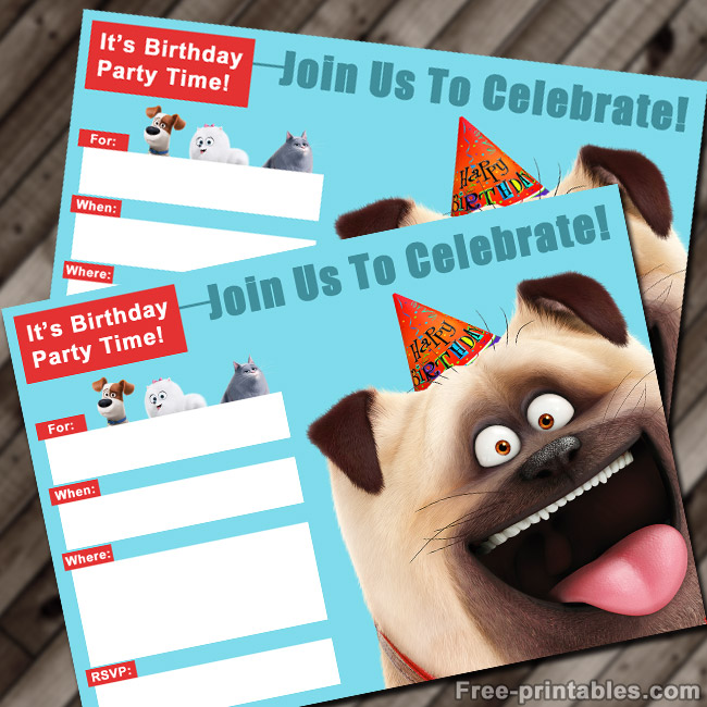 FREE Printable Secret Life of Pets Birthday Invitation