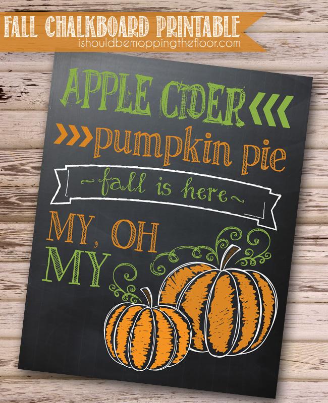 Free Fall Chalkboard Printable