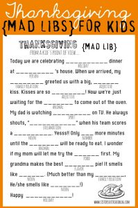 Free Printable Thanksgiving Mad Libs for Kids