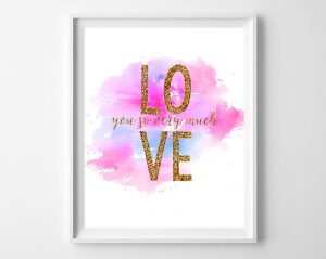 Free Watercolor Valentine's Day Printable with Glitter