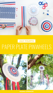 Free Printable July Fourth Paper Plate Pinwheels