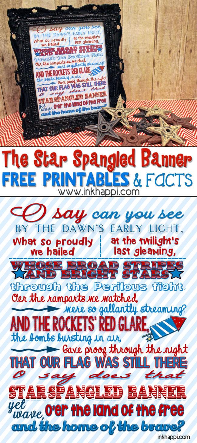 Free Star Spangled Banner Subway Art Printable