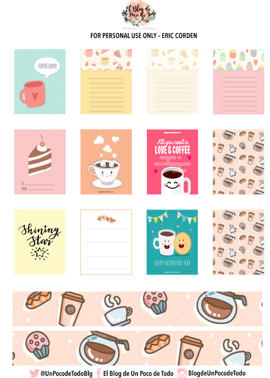 image regarding Free Printable Stickers for Planners referred to as No cost Printable Espresso Planner Stickers