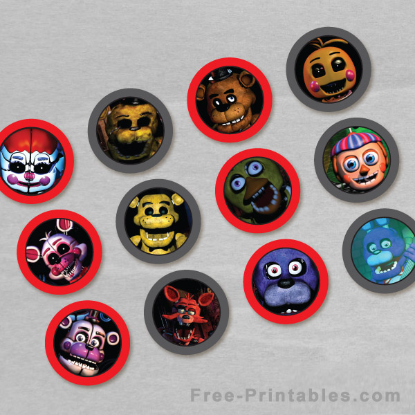 Free Printable Five Nights at Freddy's Cupcake Toppers