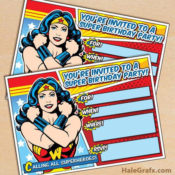 Free Printable Wonder Woman Invitation