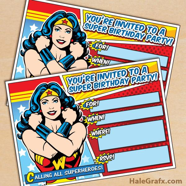 Free Printable Wonder Woman Invitation
