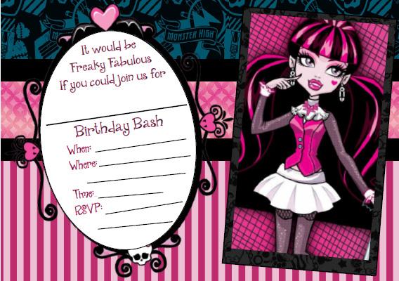 Free Printable Monster High Draculaura Invitation