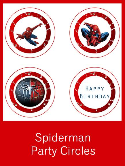 Free Printable Spider-man Party Circles and Place Name Cards