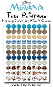 Free Printable Moana Hershey Kiss Stickers