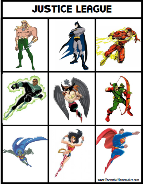 Free Printable Justice League Bingo Cards