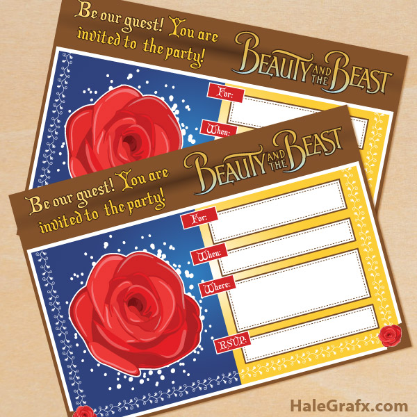 Free Printable Beauty and the Beast Party Invitations