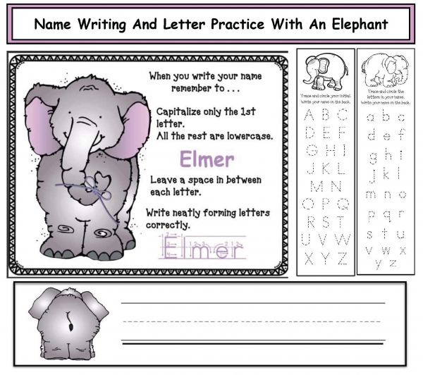 Free Printable Elephant Name and Letter Writing Practice Worksheets