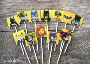 picture relating to Superhero Cupcake Toppers Printable called Totally free Printable LEGO Batman Cupcake Toppers