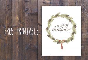 Free Merry Christmas Wreath Printable