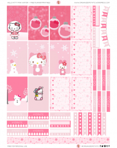 Free Hello Kitty Pink Winter Planner Printable
