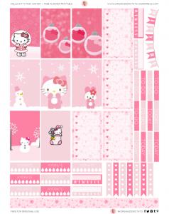 Free Hello Kitty Pink Winter Planner Printable