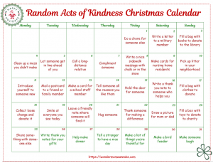 Free Printable Random Acts of Kindness Christmas Calendar for Kids
