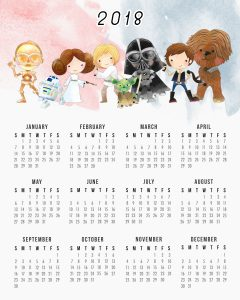 Free Printable One Page Star Wars 2018 Calendar