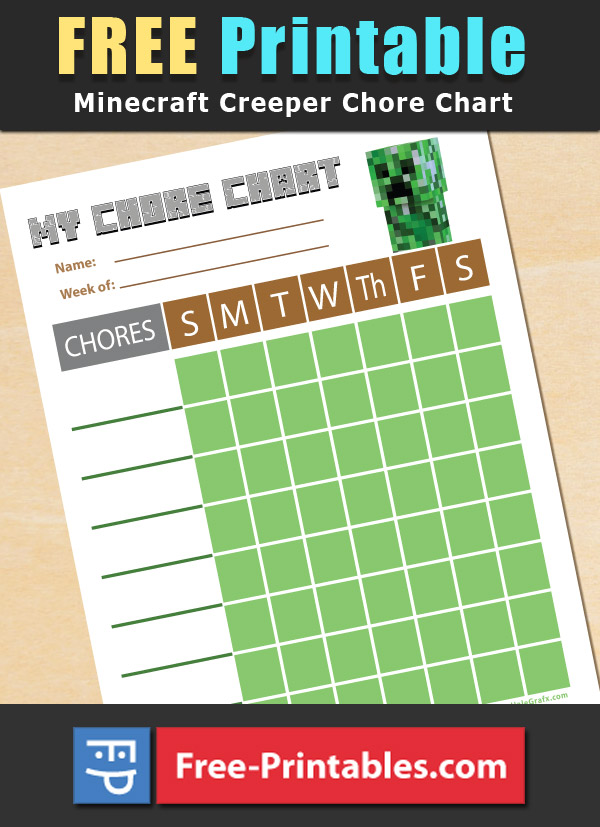 Free Printable Minecraft Creeper themed Chore Chart