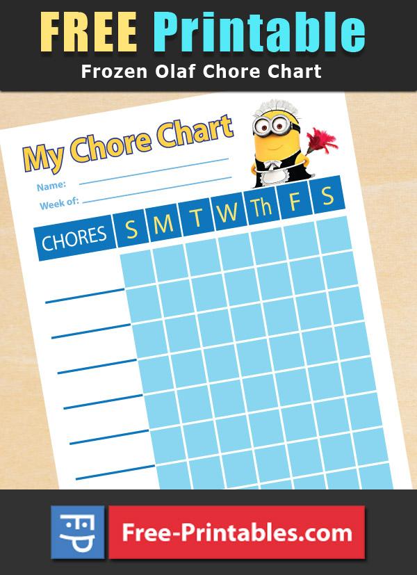 Free Printable Minion themed Chore Chart