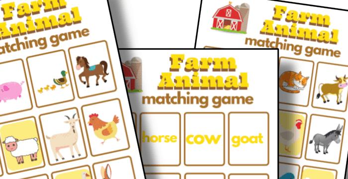 Free Printable Farm Animal Memory Matching Game